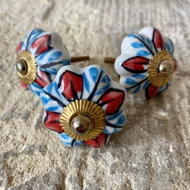 India - Handicrafts Blue & Red Flower Ceramic Knob