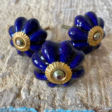 India - Handicrafts Royal Blue Flower Ceramic Knob