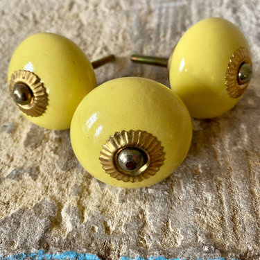 India - Handicrafts Yellow Round Ceramic Knob