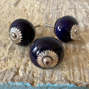 Dark Blue & Silver Round Ceramic Knob