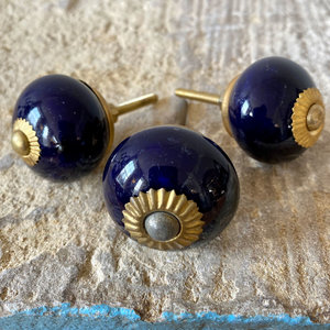 Dark Blue & Brass Round Ceramic Knob