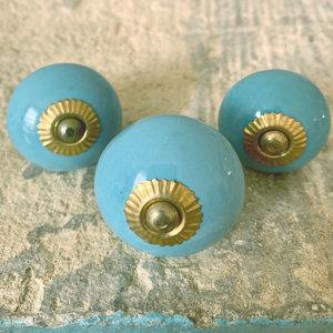 Sky Blue Round Ceramic Knob