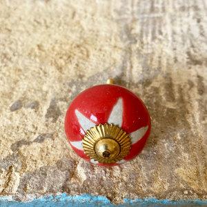 Red & White Star Round Ceramic Knob