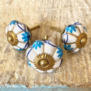Blue & Gold Flower Ceramic Knob