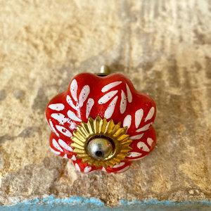 Burnt Red with White Petals Ceramic Knob