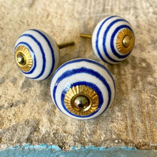 India - Handicrafts Blue Line & White Round Ceramic Knob