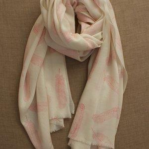 Himalayan Wool Pink Block Print Feather Shawl