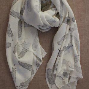 Himalayan Wool Charcoal Feather Block Print Shawl