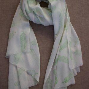 Himalayan Wool Green Feather Block Print Shawl