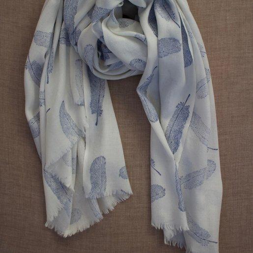 India - Textiles Himalayan Wool Blue Feather Block Print Shawl