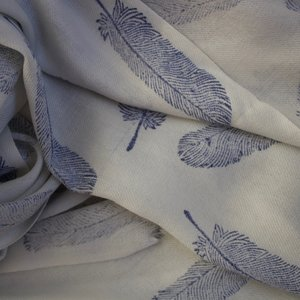 Himalayan Wool Blue Feather Block Print Shawl