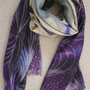 Pure Cashmere Pashmina - Abstract Purple