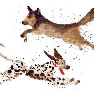 Leaping Pups Card