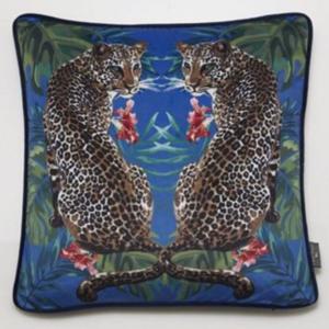 Twin Leopards Velvet Cushion