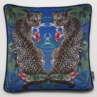 Level 1 Accessories Twin Leopards Velvet Cushion