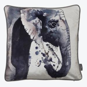 Monochrome Elephant Velvet Cushion