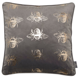 Grey Velvet Cushion with Gold Foil Bees