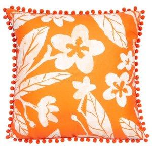 Orange Floral Print Cushion
