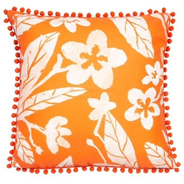 Level 1 Accessories Orange Floral Print Cushion