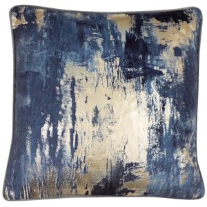 Blue Velvet Cushion with Gold Foil