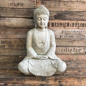 Stoneware Meditating Flower Buddha