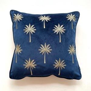 Miami Palm Blue Velvet Cushion