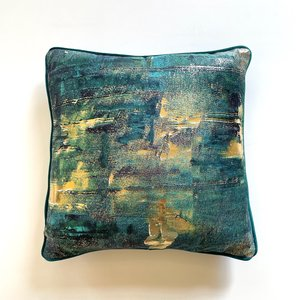 Green Velvet Cushion with Gold Foil