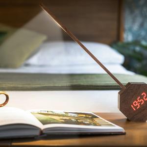 Octagon One Plus Alarm Desk Light - Walnut