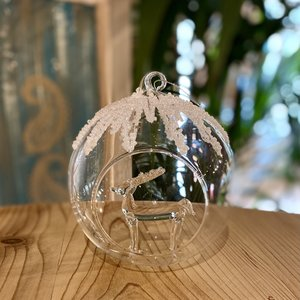 Glass bauble with deer inside