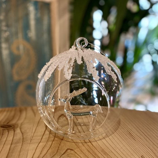 Level 2 Accessories Glass bauble with deer inside