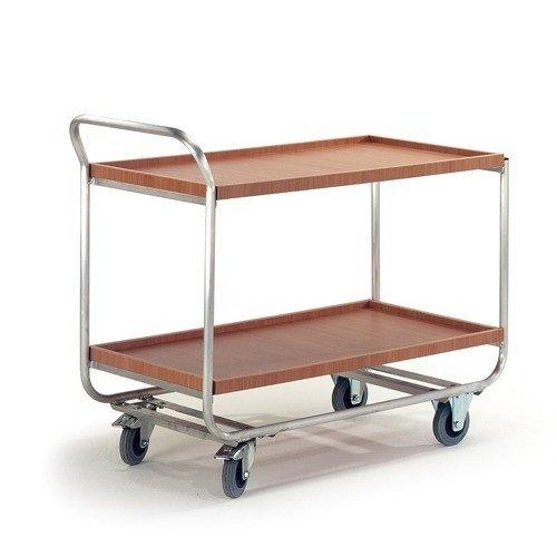 ROLLCART Aluminium tafelwagen 2 laadvlakken + rand
