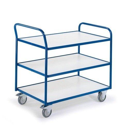 ROLLCART ESD tafelwagen met 3 laadvlakken en duwbeugel