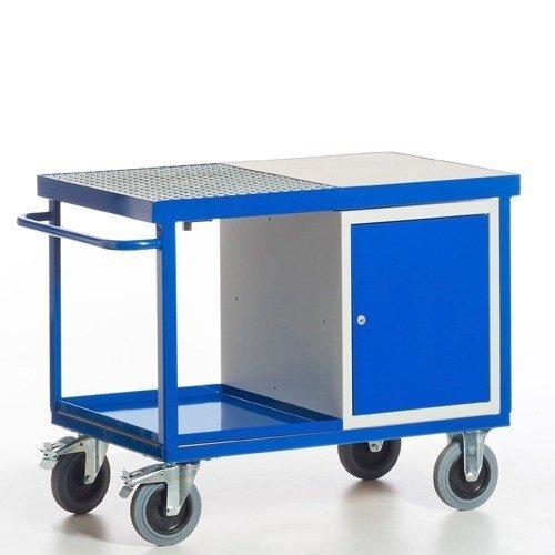 ROLLCART Werkplaatswagen met vloeistofdicht werkblad & stalen kast