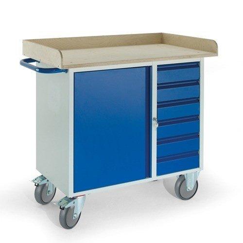 ROLLCART Werkplaatswagen met stalen kast, 6 laden en werkblad