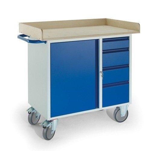 ROLLCART Werkplaatswagen met stalen kast, 4 laden en werkblad