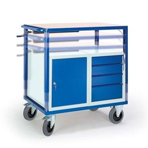 ROLLCART Werkplaatswagen met stalen kast en 4 laden (in hoogte verstelbaar)