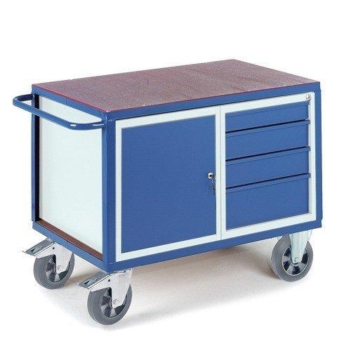 ROLLCART Werkplaatswagen met laden- en stalen kast (zwaarlast)