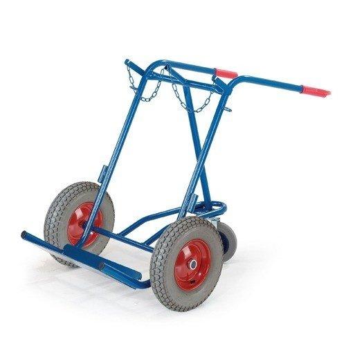 ROLLCART Gasflessenwagen volrubber banden met steunwiel voor 2 gasflessen á 40-50 ltr.