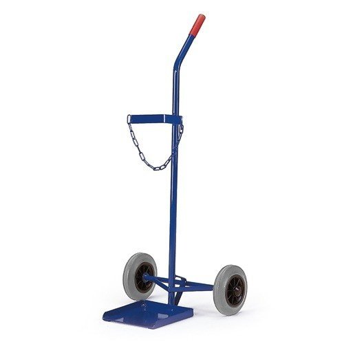 ROLLCART Gasflessenwagen volrubber banden voor 1 gasfles á 40-50 ltr.