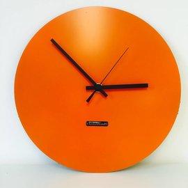 Klokkendiscounter Wanddklok Edelstahl Uhrwerk Orange