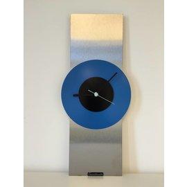 Klokkendiscounter Wanduhr Edelstahl Black & Blue Modernes Design