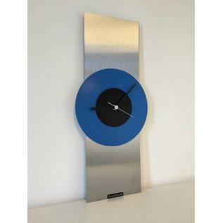 Klokkendiscounter Wanduhr Edelstahl Black & Blue Modern Design