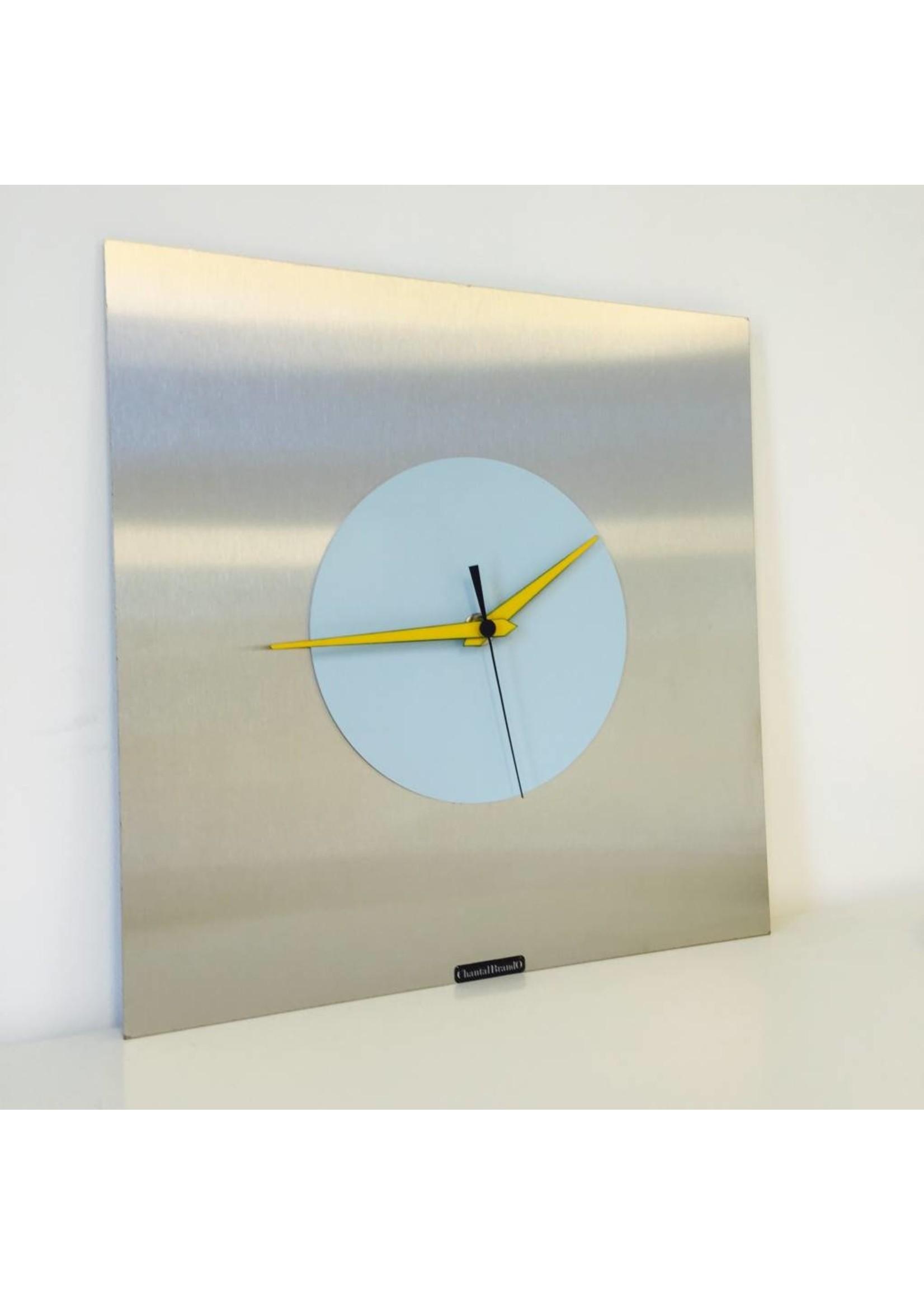 Klokkendiscounter Wandklok RVS Blue & Yellow Modern Design