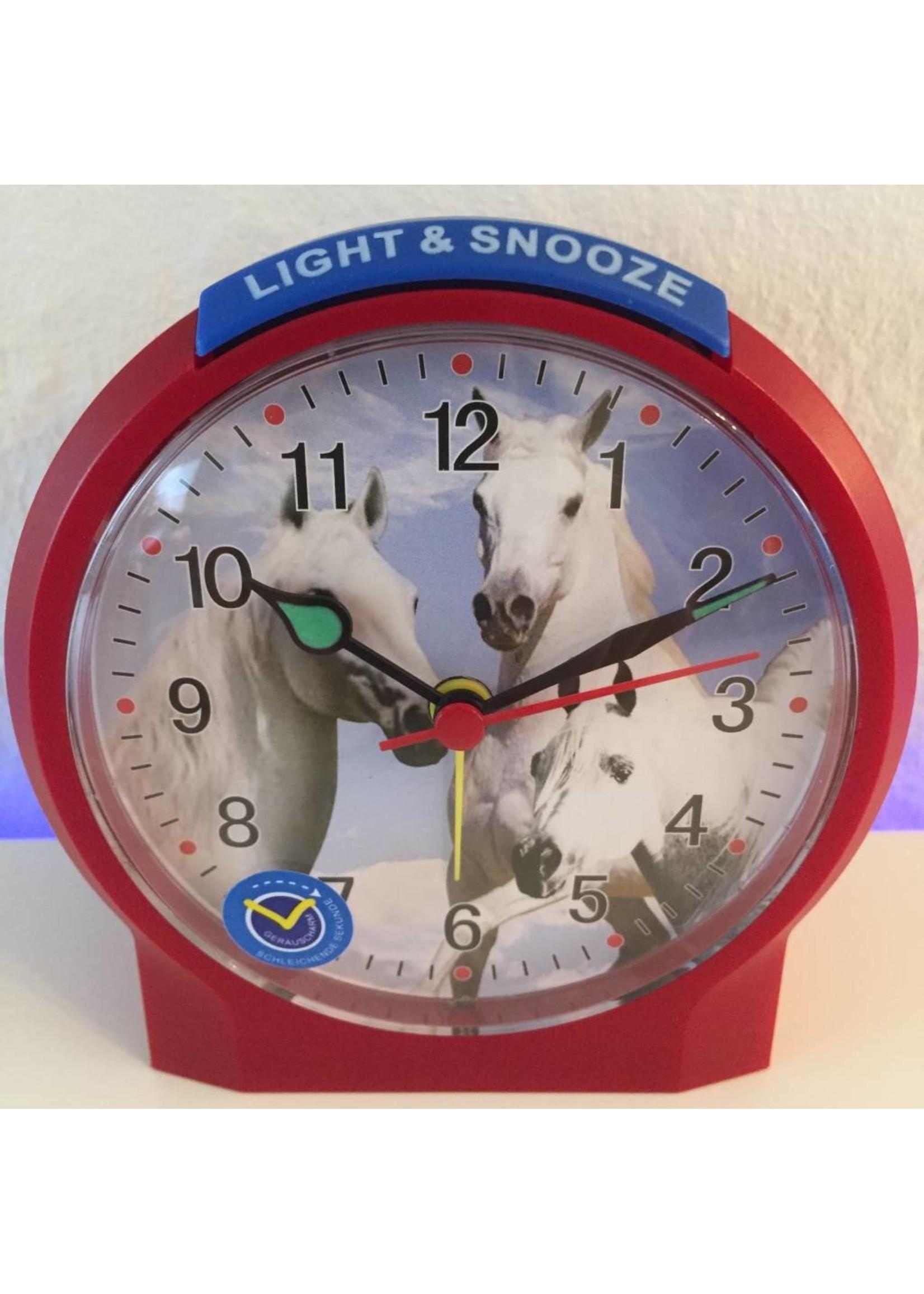 Atlanta Kinderwekker met paarden motief kleur rood