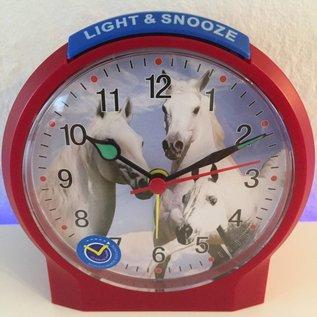 Atlanta Kinderwecker met paarden motief kleur rood