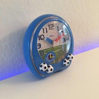 Atlanta Kinderwecker met voetballen blauw