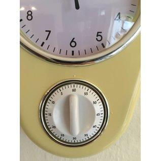 NiceTime Retro keukenklok in pastel vanille