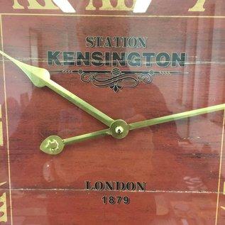 NiceTime Wandklok Kensington hout retro rood