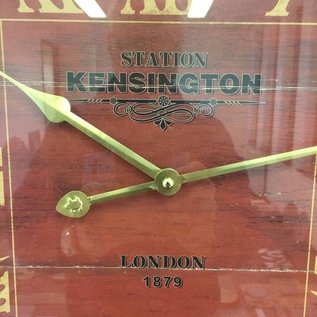 NiceTime Wanduhr Kensington hout retro rood