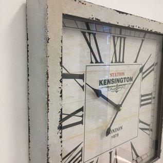NiceTime Wandklok Kensington hout retro wit